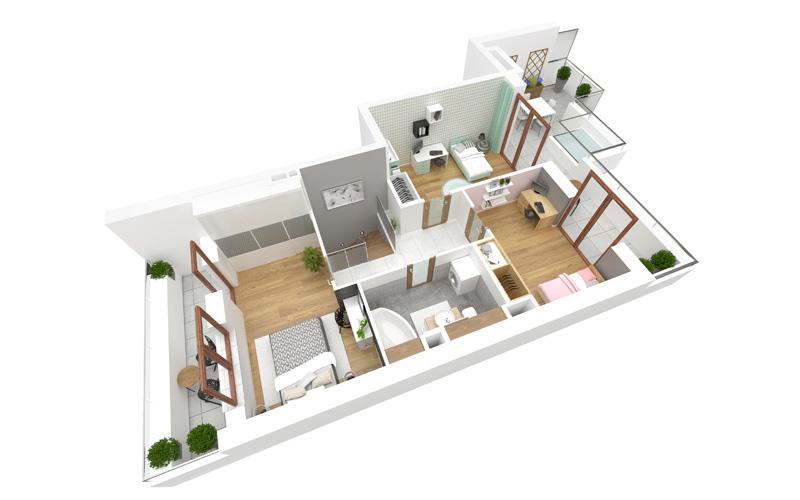 Rzut poprzeczny mieszkania w osiedlu Aurora